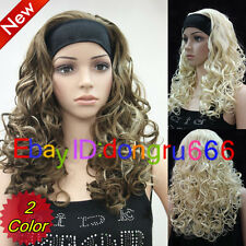 Mid-Long Curly Women Female Lady With headband Synthetic Hair Wig + Free wig cap