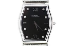 Men's Wittnauer 10D08 Stratford Stainless Steel Black Dial Diamond Accent Watch
