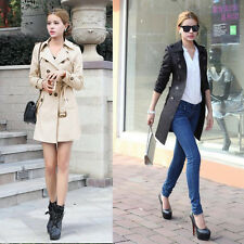 Women Long Jacket Double-breasted Lapel Belted Trench Overcoat Outwear Big Size