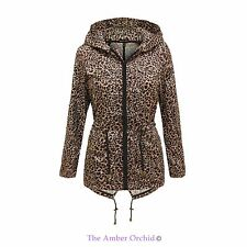 NEW LADIES WOMENS HOODED SHOWERPROOF LEOPARD PRINT RAIN FISHTAIL MAC COAT JACKET