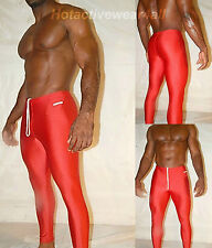 MENS GYM WRESTLING LYCRA FITNESS RUNNING YOGA SPANDEX  PANTS TIGHTS HIND RED