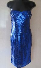 TEATRO Blue Sequin Bandeau Dress / Straps UK Size 12 - 14 NEW