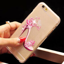 New Shining Diamond 3D Drawing High Heels Clear Hard Case Cover For Apple iPhone