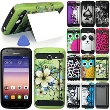HYBRID Hard Case Cover For Huawei Tribute 4G LTE Y536A1, Card Cutout Stand +Tool
