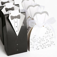 Black&White In Pairs bride and groom wedding candy boxes 100/200pcs Large Pack