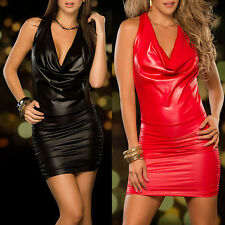 CH Womens Faux Leather Sexy Lingerie Sleepwear Backless Tight Mini Dress Slim