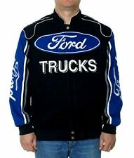 Ford Racing Jacket Ford Motor Company Adult Black Blue Cotton Twill BLOWOUT