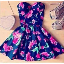 Summer Lady Women Outfit Strapless Bodycon Chiffon Floral Dress Princess Dresses