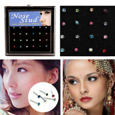 60/40x Crystal Rhinestone Stainless Steel Bone Stud Nose Ring Body Piercing Gift