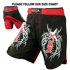 MRX MMA Shorts Fight Short Grappling UFC Cage Kick Boxing Black Red