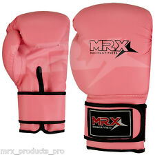 LEATHER BOXING GLOVES SPARRING PUNCH BAG KICK BOXING PINK