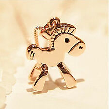 Women Girls Lady Gold Plated Horse Pony Chain Necklace