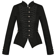 Womens Ladies New Black Gothic Steampunk Military Cotton Tailcoat Coat Jacket