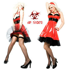 DARQUE SEXY GOTHIC FETISH DOMINATRIX VINYL RUBBER PVC PIN UP RED GOTH DRESS S M