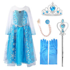 Elsa Frozen Inspired Fancy Dress Party Costume+ Accessories Gloves Wand Tiara