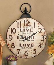 ANTIQUE LOOK DISTRESSED STYLE METAL SENTIMENT WALL CLOCK-2 SENTIMENTS AVAIL.