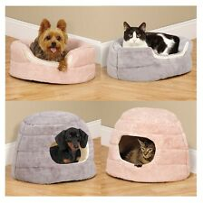 SMALL PET CUDDLER BEDS for DOGS & CATS  - 2 in 1 Reversible Cozy Hideway Bolster
