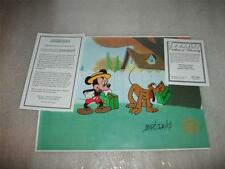 Mickey Mouse Pluto Hand Signed Disney Sericel Cel FREE background MARC DAVIS