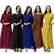 Kaftan Abaya Islamic Muslim Women Chiffon Long Sleeve Bow Knot Party Maxi Dress