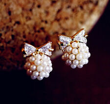 Fashion Korean Cute Crystal Pearl Butterfly Rhinestone Lovely Earring Ear Studs