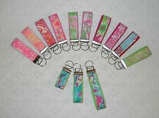 Preppy Keyring Key Chain w/ Lilly Pulitzer Fabric 3sizes Pinks and Greens