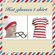 CHILDRENS RED  WHITE STRIPED T SHIRT HAT GLASSES  FANCY DRESS  BOOK WEEK boys