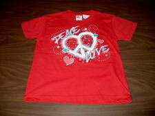NWT Bay Island Sportswear Girls Red T-Shirt Sizes S M or L Peace Love Symbol