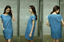 Women Korea Loose Cotton Double Pockets Short Sleeve Denim Jeans Mini Skirt Blue