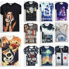 Newest Hip Hop Men/women 3d t shirt Graphic print Work hard/ferris wheel tee