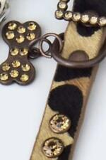 Dog Accessories Jeweled Leather Collar Leopard Brown
