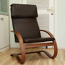 International Caravan Stockholm Contemporary Bentwood Lounge Chair with Faux Lea