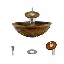 MR Direct 610 Painted Glass Vessel Sink, with Brushed Nickel Vessel Faucet, Sink