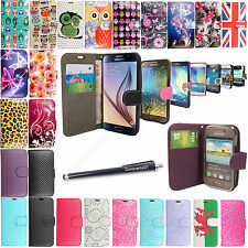 Wallet Flip Printed PU Leather Case Cover For Samsung Galaxy Phone+Free Stylus
