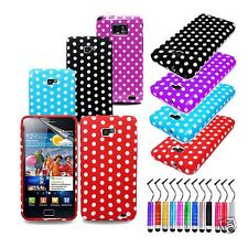 POLKA DOTS SILICONE CASE COVER FOR SAMSUNG GALAXY S2 II I9100 GEL + SCREEN GUARD