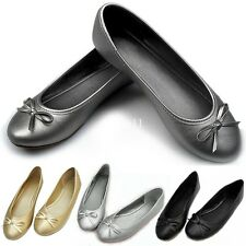 Womens Ladies Size Dolly Ballet Ballerina Casual SlipOn Bow Pumps Flat 5 Colors