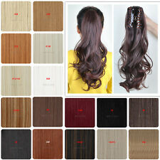UK Real Thick Ponytail Claw on Hair Piece Clip In Pony Tail Hair Extensions 3Y6