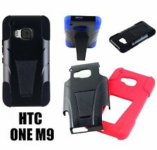For HTC ONE M9 - DUAL LAYER Kickstand Hybrid Hard& oft Rubber Silicone Skin Case