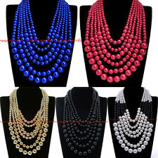 Fashion Resin Pearl Chain Chunky Choker Cluster Statement Pendant Bib Necklace