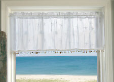 Sand Shell Valance with Trim by Heritage Lace, 45x15, Crushed Lace, Seashells