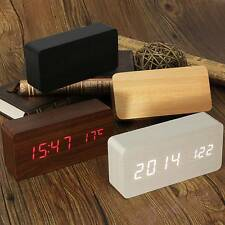 Wooden Wood Digital LED Alarm Modern Clock Time Calendar Thermometer USB/AAA