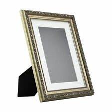 Ancien Ornate Table-Top 8.5x11 Antique Silver Standing Picture Frame with Mat