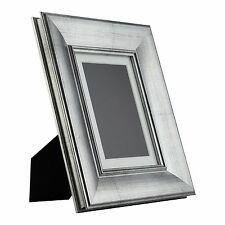 Verandah Table-Top 5x7 Vintage Brushed Silver Standing Picture Frame with Mat