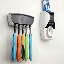 Auto Automatic Toothpaste Dispenser Toothbrush Holder Stand Set Wall Mount Rack