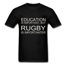EDUCATION IS IMPORTANT BUT RUGBY IS IMPORTANTER - Fun Novelty Mens T-Shirt