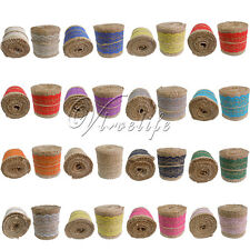 6cm x 2M Natural Vintage Burlap Ribbon Rustic Wedding Decoration Gift Wrapping