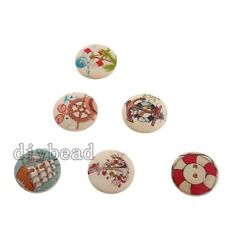 50x Hot Mixed Color Wooden Sew-on Buttons Jewelry Crafts Decorations Findings D