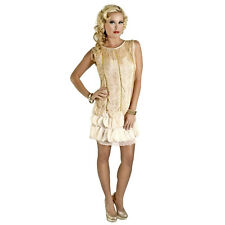 1920's Vintage Style Fringed Flapper Dress Great Gatsby Women's Costume Cream
