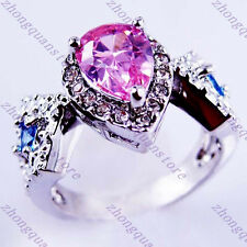 Jewelry Brand New Rings Size 8 Pink Sapphire Lady's 10Kt White Gold Filled Gift