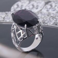 Vintage style 18K white gold filled purple Sapphire lady rings Sz6to10