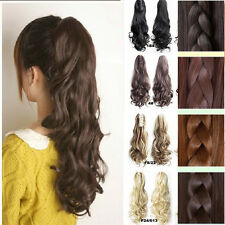 Women Girls Hairpiece Long Straight Curly Claw Ponytail Clip in Hair Extensions